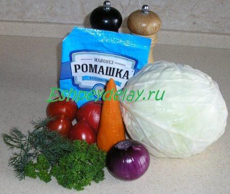 рецепт салата из капусты с помидорами