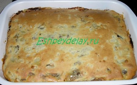Пирог с сайрой и рисом заливной рецепт