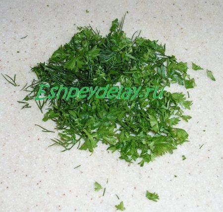 зелень мелко нарезанная