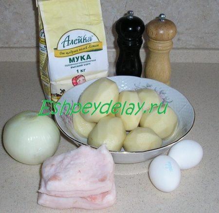 Ингредиенты для вареников с картошкой и шкварками