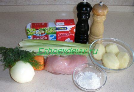 Продукты для супа из сельдерея