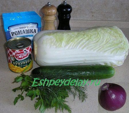 Рецепт салата из пекинской капусты с кукурузой