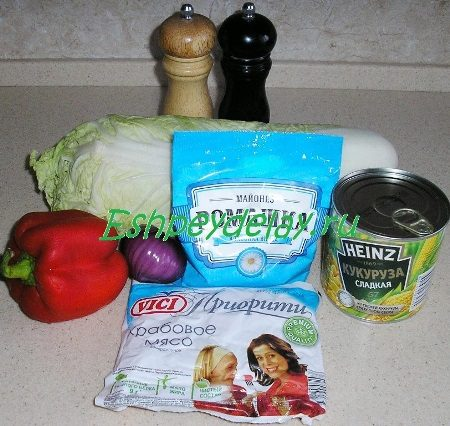 Рецепт салата с крабовым мясом