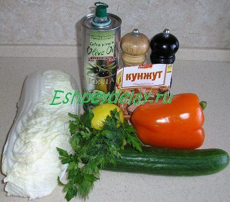 Рецепт салата из пекинской капусты с огурцом и перцем
