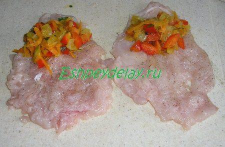 Начинка из овощей на отбивной