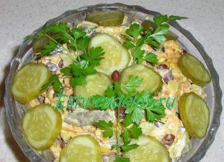 Салат из фасоли с печенью