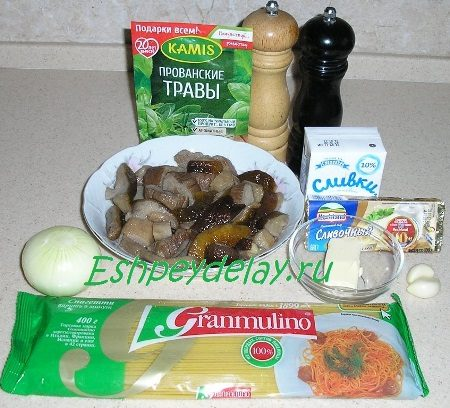 Рецепт пасты с грибами в сливочном соусе