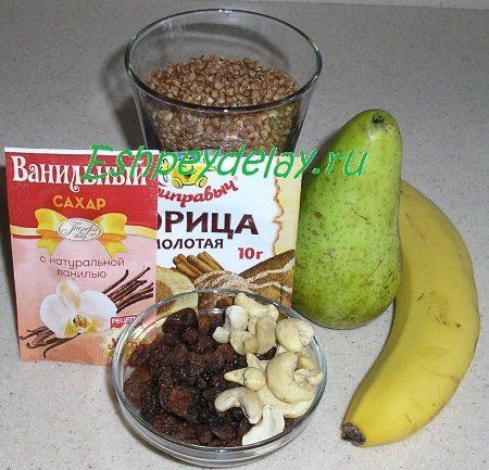 Рецепт сладкой гречневой каши с фруктами