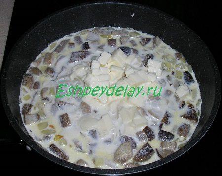 Грибы со сливками и сыром