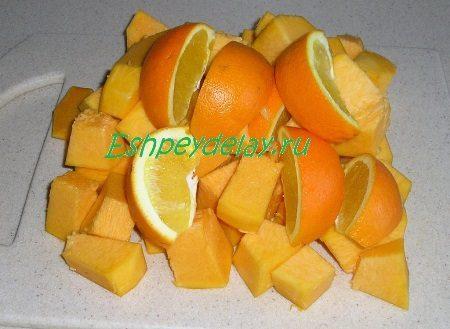 Порезанные кусочками тыква с апельсином