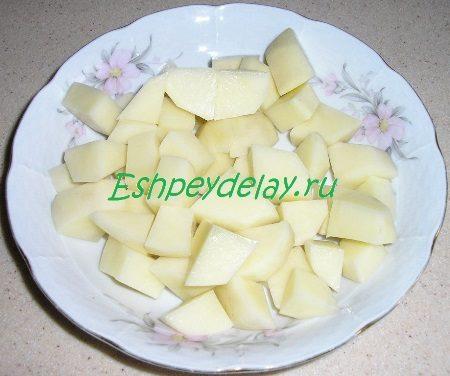 Порезанный кубиком картофель