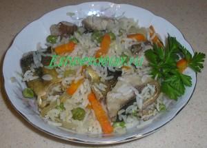 терпуг с овощами и рисом