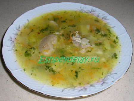суп с пшеном и курицей
