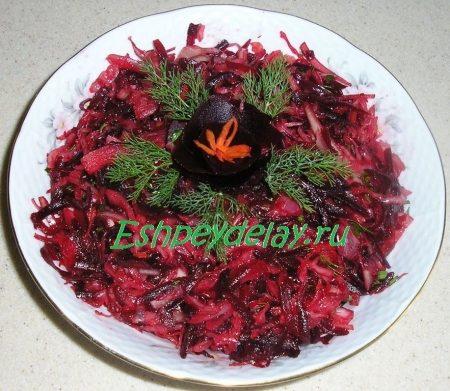 салат из квашеной капусты со свеклой