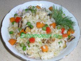 Жареный рис с овощами и морепродуктами