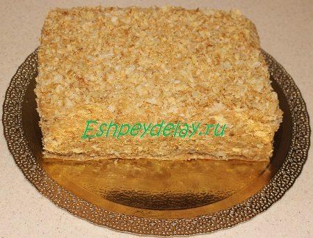 Торт ленивый « Наполеон» с кремом из варёной сгущёнки