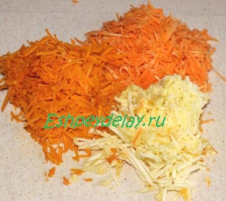 Потёртые тыква, морковь и яблоко