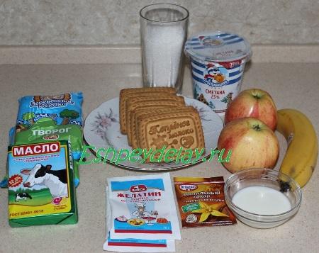 Рецепт Карамельный торт « Яблоки на снегу»