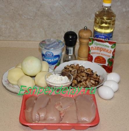 Рецепт для Куриные рубленые котлетки с грибами и гарниром