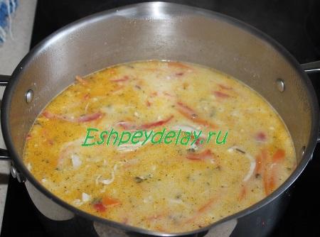 Заправку добавляем к супу